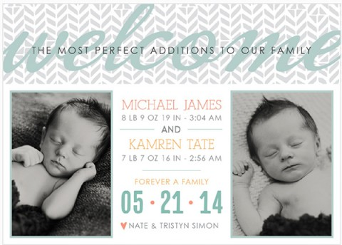 Custom Birth Announcements Just For TWINSIES