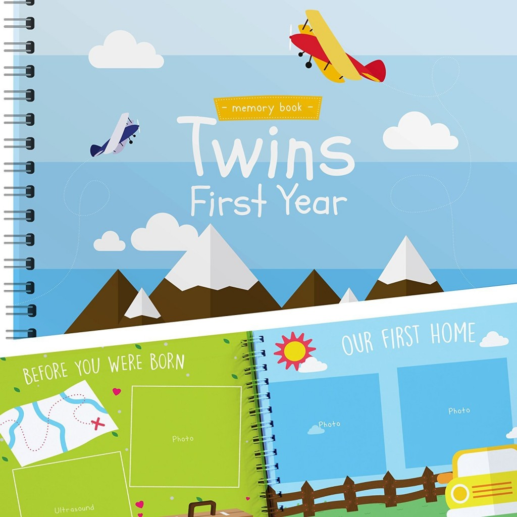 Twins First Year Hardcover Memory Book Airplanes Edition